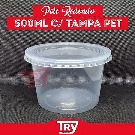 Pote De Plástico Redondo 500ml Prafesta Pct Com 24 Unidades