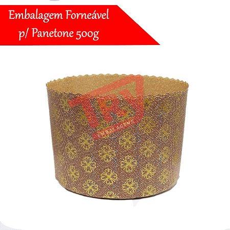 Embalagem Forneável P/ Panetone 500g Decorado Fiori Italia  (50 Uni)