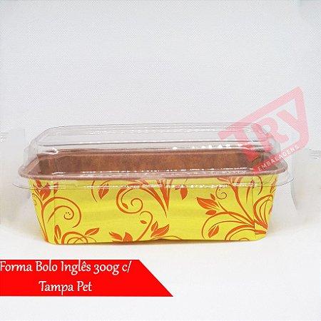 Forma De Papel P/ Bolo Caseirinho Inglês 300g C/ Tampa 50un (Amarelo Decorado)