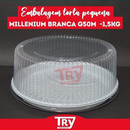 Embalagem Torta Pequena Millenium Branca G 50M - 1,5kg (10 UN)