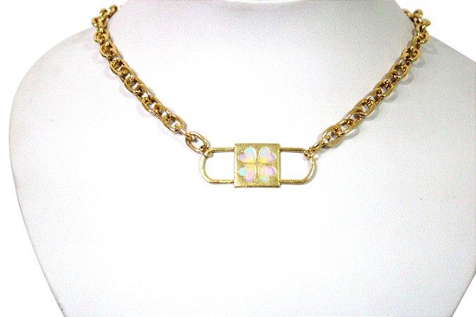 Gargantilha Dourada Com Cadeado Tie Dye
