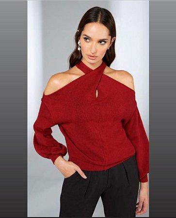 Blusa tricot detalhe ombro