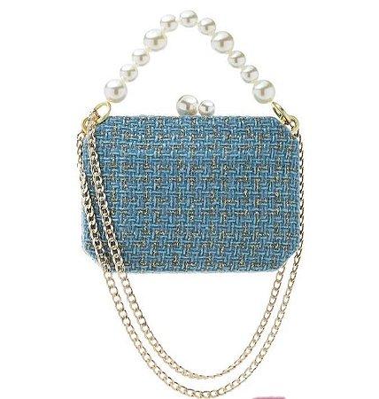 Bolsa Clutch Tweed Azul com Pérolas - Alças Duplas