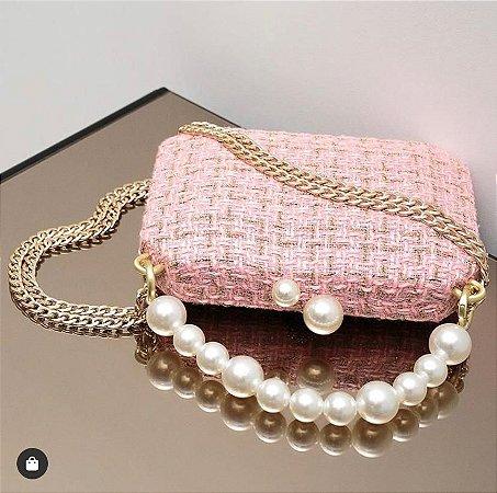 Bolsa Clutch Tweed Rosa com Pérolas - Alças Duplas