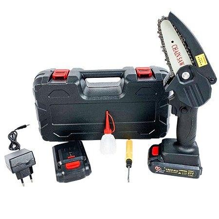 Mini Motosserra Elétrica A Bateria 21V Litio Bivolt SA Tools