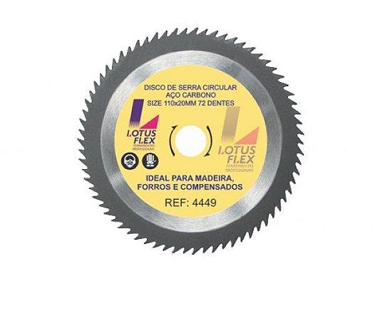 Disco de Serra Aço Carbono, 110mm x20mm 72 Dentes 4449 Lotus