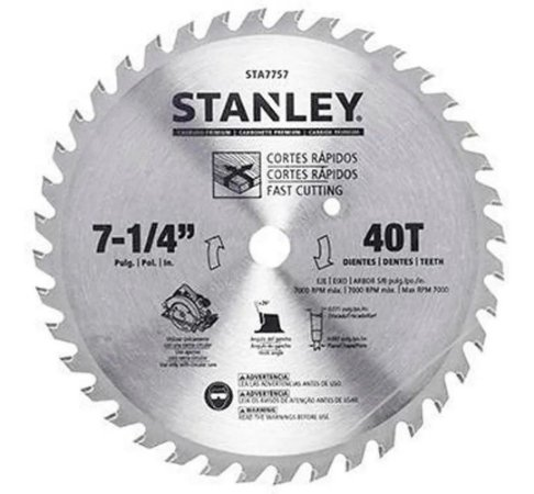 Disco Serra Circular 7-1/4 Madeira 40 Dentes STA7757 Stanley