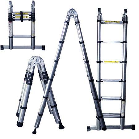 Escada Telescópica Multifuncional 12 Degraus Alumínio 3,8 m