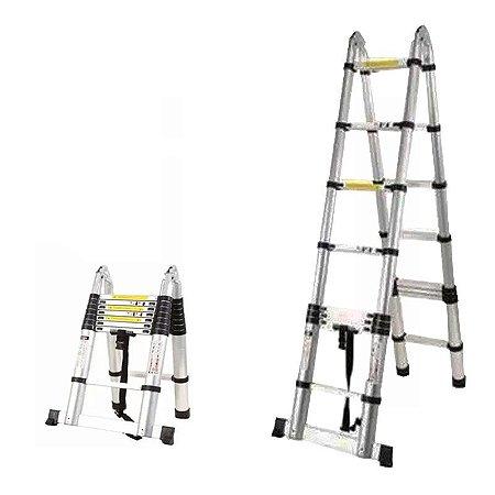 Escada Telescópica Multifuncional 16 Degraus Alumínio 5.0m