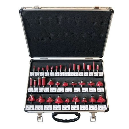 Kit com 35 Fresas para Tupia 6mm Maleta Alumínio Charbs