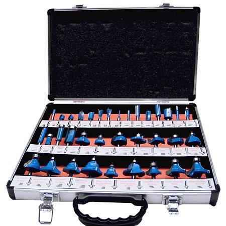 Kit com 35 Fresas para Tupia 6mm Maleta Alumínio SA Tools
