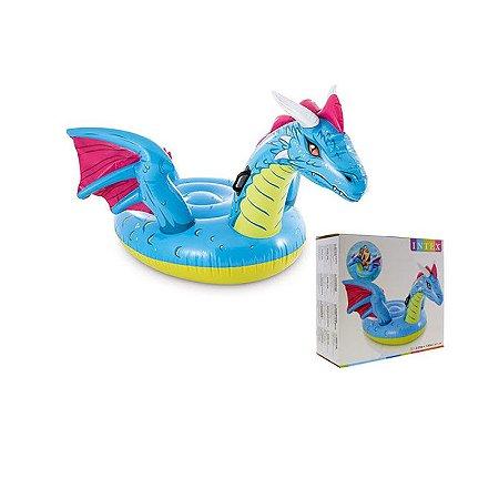 Boia Bote Inflável Infantil Dragão Azul Médio Intex 57563