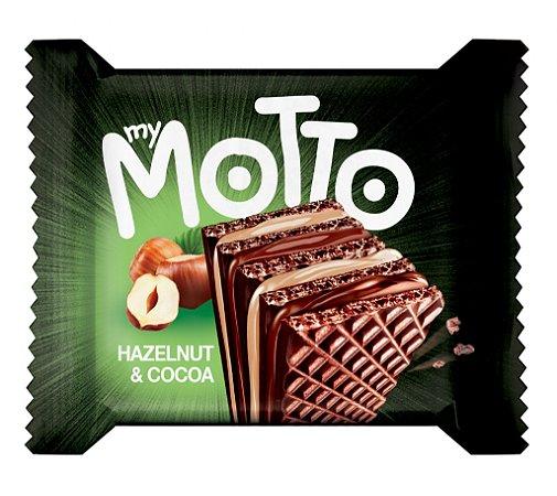 Wafer com recheio de chocolate e creme de avelã 34g Motto