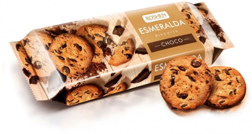 Esmeralda Biscuits Choco Cookies Roshen 150g