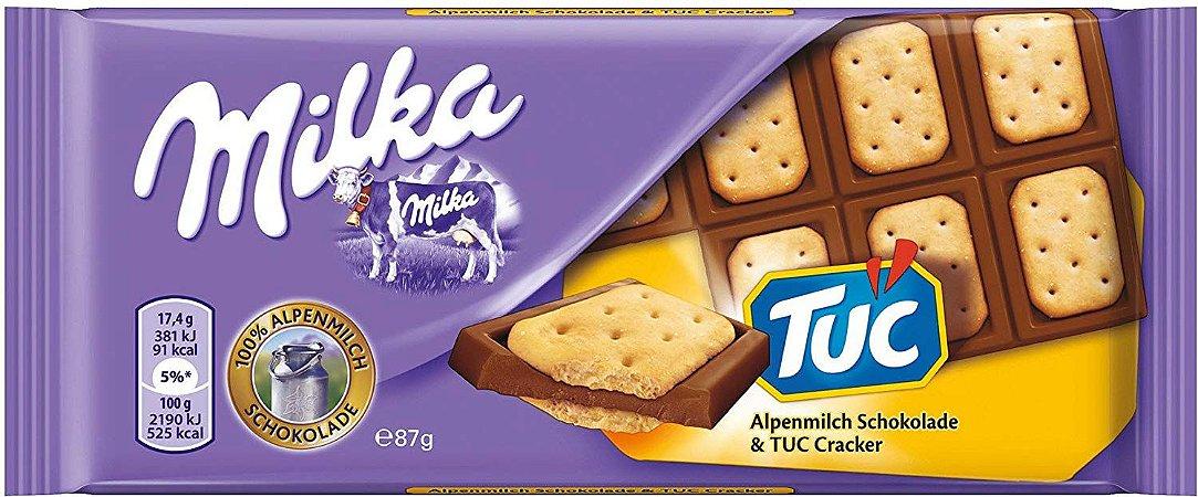 Milka Chocolate ao Leite coberto com biscoito TUC 87g