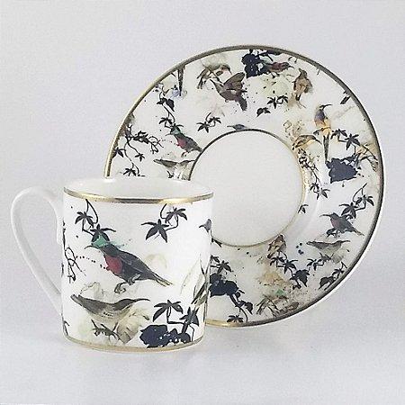 JOGO 6 XÍCARAS CAFÉ + PIRES GARDEN'S BIRDS PORCELANA ROBERTO CAVALLI