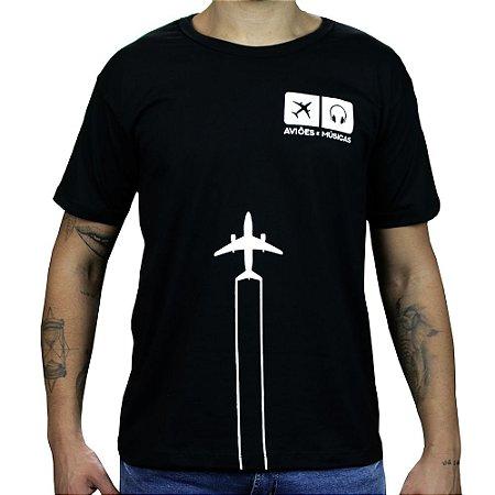 Camiseta Contrail - Preta Aviöes e Músicas