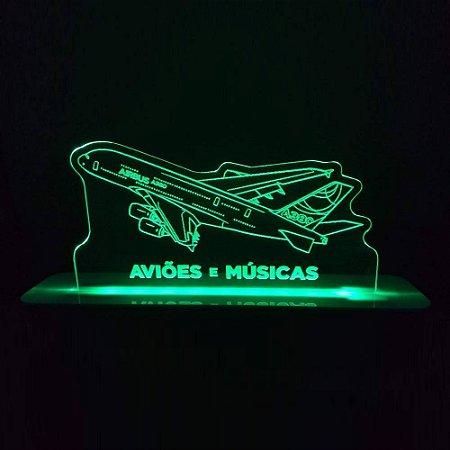 Luminária Airbus A380 Aviões e Músicas