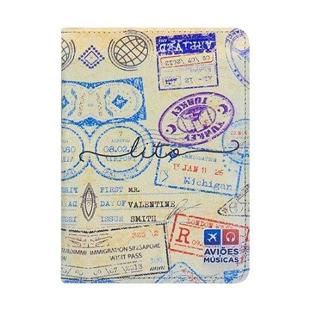 Porta Passaporte Carimbado 1 - Aviões e Músicas