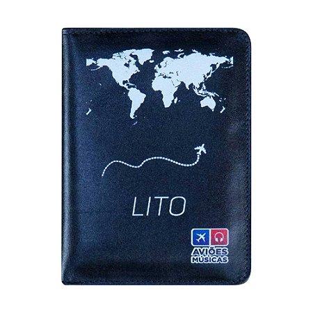 Porta Passaporte Mapa Mundi Preto - Aviões e Músicas