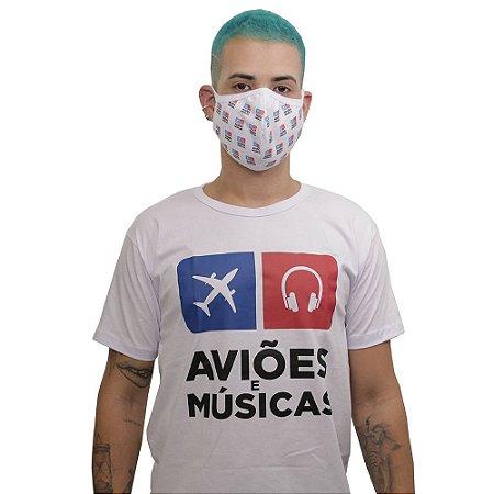 Kit Camiseta + Máscara Aviões e Músicas Clássica