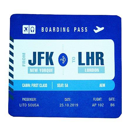Mouse Pad Boarding Pass Personalizável - Azul aviões e Músicas