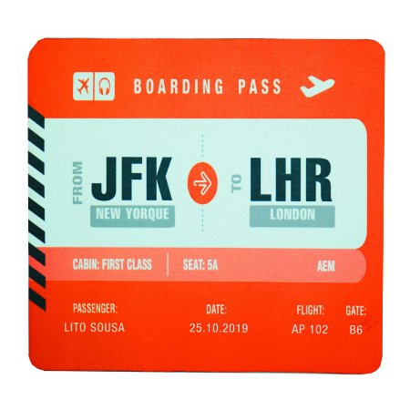 Mouse Pad Boarding Pass Personalizável - Vermelho Aviões e Músicas
