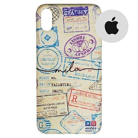 Capa para Smartphone Passaporte Carimbado 1 Personalizável - Apple - Aviões e Músicas