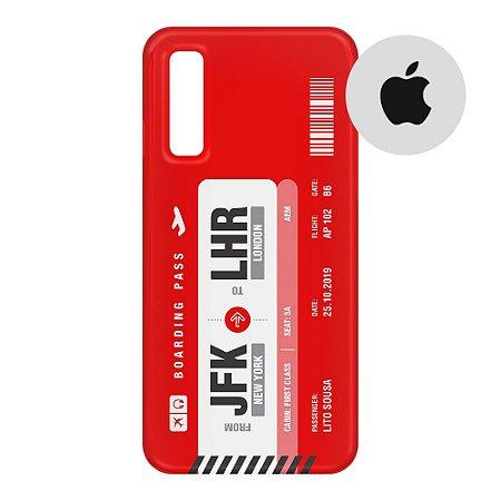 Capa para Smartphone Boarding Pass Personalizável Vermelha - Apple
