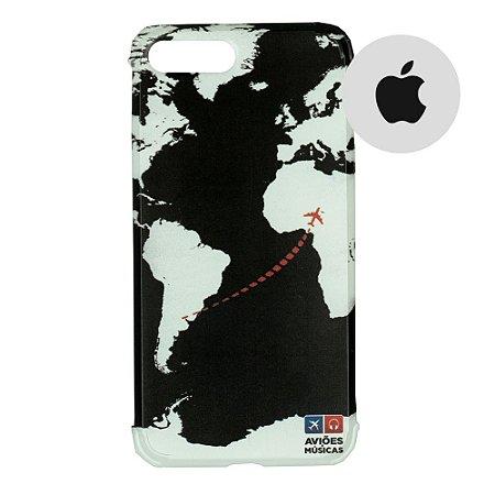 Capa para Smartphone Mapa Mundi Preto - Apple - Aviões e Músicas