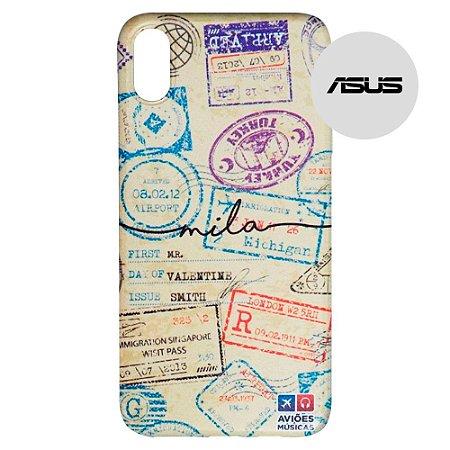 Capa para Smartphone Passaporte Carimbado 1 Personalizável - Asus - Aviões e Músicas