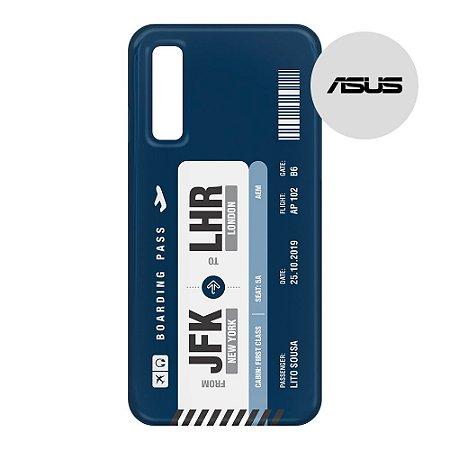 Capa para Smartphone Boarding Pass Personalizável Azul - Asus - Aviões e Músicas