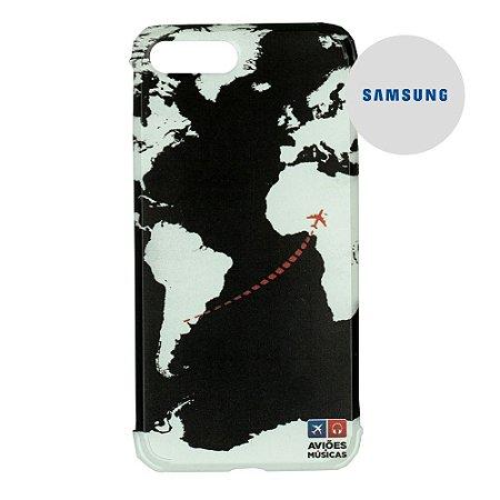 Capa para Smartphone Mapa Mundi Preto - Samsung