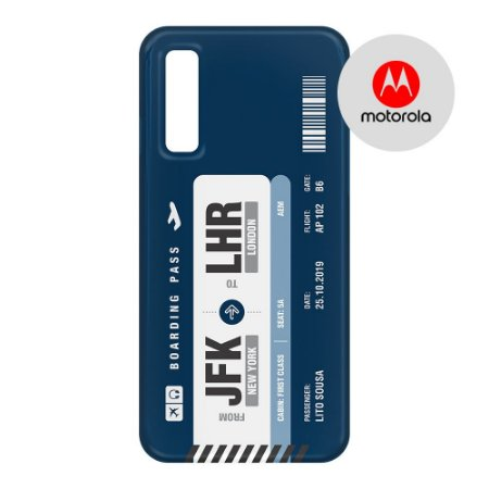 Capa para Smartphone Boarding Pass Personalizável Azul - Motorola - Aviões e Músicas