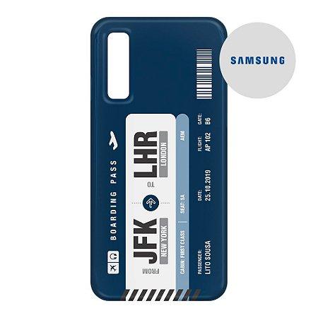 Capa para Smartphone Boarding Pass Personalizável Azul - Samsung - Aviões e Músicas