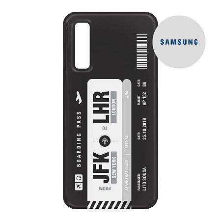 Capa para Smartphone Boarding Pass Personalizável Preta - Samsung - Aviões e Músicas