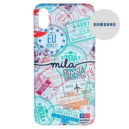 Capa para Smartphone Passaporte Carimbado 2 Personalizável - Samsung - Aviões e Músicas