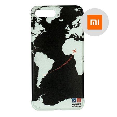 Capa para Smartphone Mapa Mundi Preto - Xiaomi - Aviões e Músicas