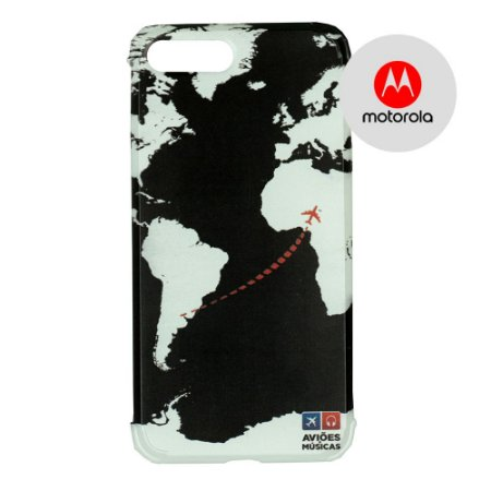 Capa para Smartphone Mapa Mundi Preto - Motorola