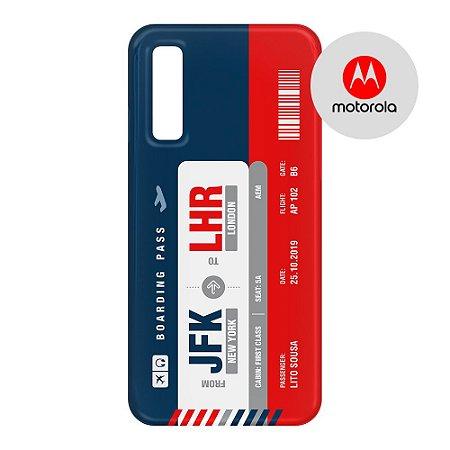 Capa para Smartphone Boarding Pass Personalizável Multicolor  - Motorola - Aviões e Músicas