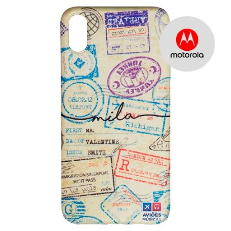 Capa para Smartphone Passaporte Carimbado 1 Personalizável - Motorola - Aviões e Músicas