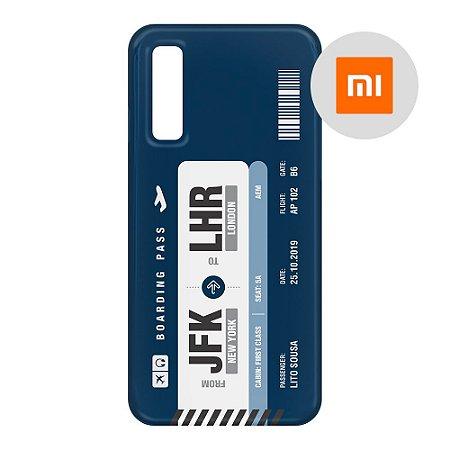 Capa para Smartphone Boarding Pass Personalizável Azul - Xiaomi - Aviões e Músicas