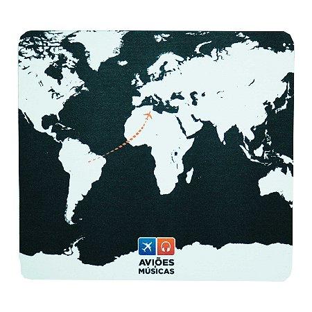 Mouse Pad Mapa Mundi Preto Aviões e Músicas