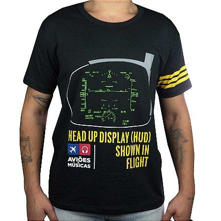 Camiseta HUD - Preta Aviões e Músicas