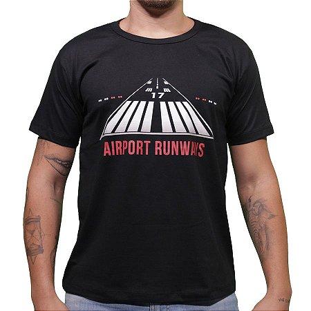 """Camiseta """"Pista"""" - Preta Aviões e Músicas"""