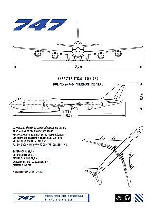 Pôster 747 Sem Moldura Aviões e Músicas