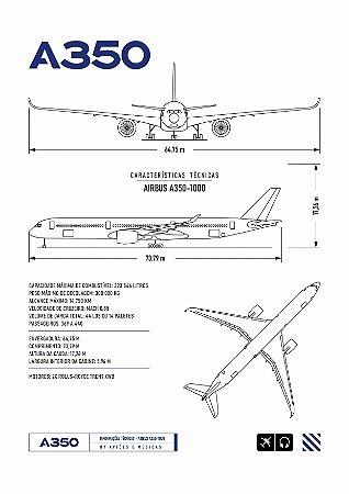 Pôster A350 Sem Moldura Aviões e Músicas