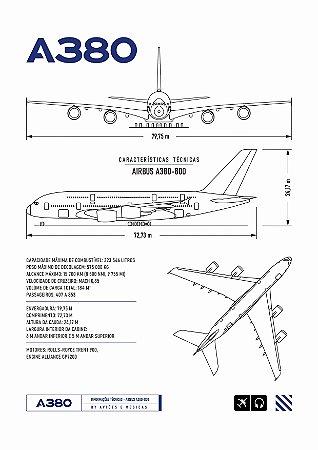 Pôster A380 Sem Moldura Aviões e Músicas