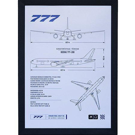 Pôster 777 Com Moldura Aviões e Músicas