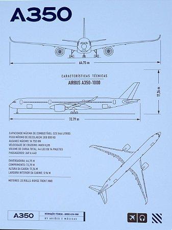 Pôster A350 Em PS 2mm Aviões e Músicas
